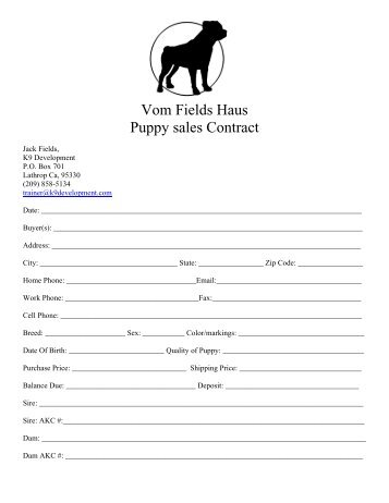 Puppy Health Guarantee Contract – Dog Life Photo